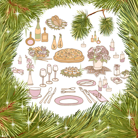Vector outline in the form of a set for a festive table serving dishes and dishes of chicken, pizza, sauces and snacks with a drink in the frame of spruce branches of a coniferous tree Illustration