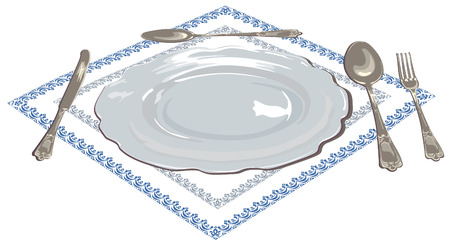 Empty set for table setting on one, plate, silver spoon, fork and knife on an embroidered napkin on a white background realistically painted in a vector