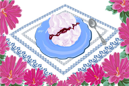 decorated with flowers asters appetizing dessert meringue with cherry jam, on a blue plate with spoon and napkin, hand drawn vector