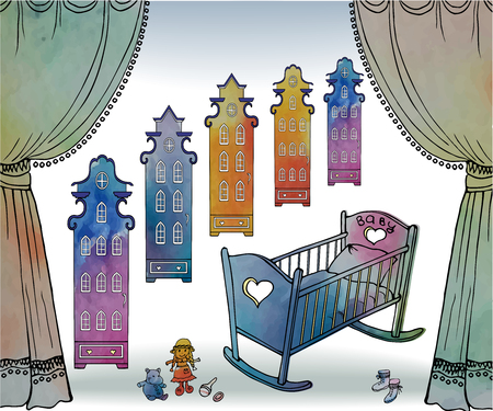 a sketch of black lines on a background similar to the watercolor stains of a newborn's room with a crib, cradle, curtains and stylized antique town houses, and a set of toys Illustration