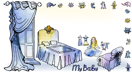 card for congratulation with the inscription of my baby and the interior of a children's room for a girl with a window, a crib, a doll and dresses in a vector in a vintage watercolor style Иллюстрация