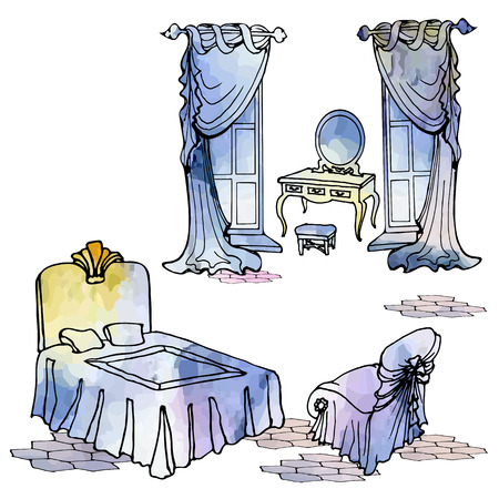 A square pattern of individual pre-vectors in a vintage-like watercolor style with the interior of an elegant womens, ladies bedroom with curtains, windows, bed, dressing table, armchair, tiled floor