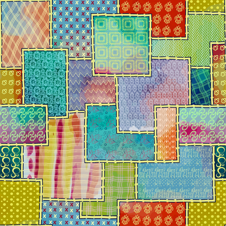 Seamless texture of patchwork background decoration in the form of sewn up flaps, fabrics, embroidery and crochet crochet, knitting needles, of watercolor stains handmade, homemade products, painted in vector