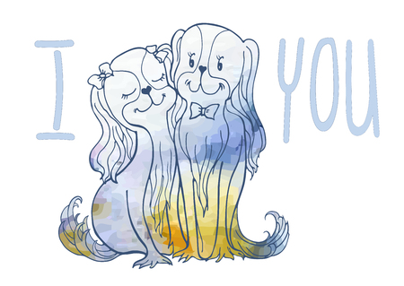 Sketch of loving dogs vector image from lines and watercolor spots of delicate flowers, bride with humor, funny touching recognition of the letter I love you. Ilustração