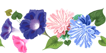 Decoration of flowers and leaves, brush, asters, bindweed, blue and pink delicate vector illustration.