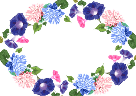 Oval floral circle border pattern Ilustração