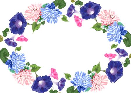 Oval floral circle border pattern Ilustrace
