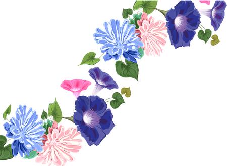 Floral wavy line frame pattern design Illustration