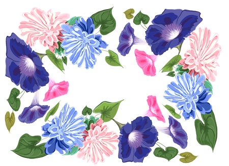 Card decorated flower and leaves vector composition, asters, bindweed, blue and pink gentle.