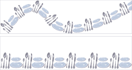Set of funny decoration straight stripe and wavy line in the form of cutlery. Ilustração