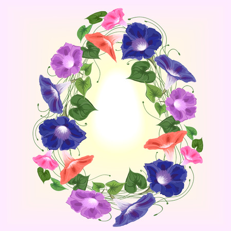 Frame in the form of a wreath of flowers of convolvulus, bindweed of blue, philet and pink in a vector of bright and festive with sunshine in the center.