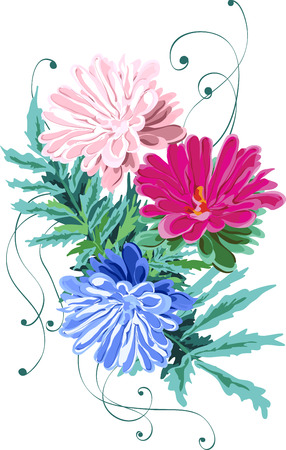 A card brush of flowers of pink, blue and white asters and green leaves, and curly stems, isolated decor, tender