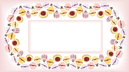 Card with a pattern framing of cakes, meringues and pies and chocolate bears on a pink and white background for a cafe and mood, for invitations to a birthday.