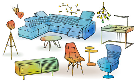 Sketch of furniture for a modern home, interior bright and comfortable, modern corner sofa, red armchair, table, floor lamp and garlands of light bulbs, and a low chest of drawers in a vector similar to watercolors on a white isolated background