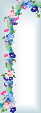 A graceful vertical arch with a watercolor effect and painted flowers of pink and blue aster and bindweed, and leaves - blue and white Illustration