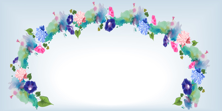 A wedding gentle horizontal arch with a watercolor effect and painted flowers of pink and blue aster and bindweed, and the leaves are blue and white
