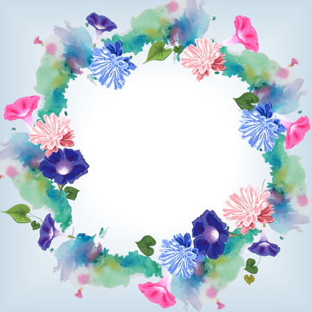 Elegant round vector frame with watercolor effect and painted flowers of pink and blue aster and bindweed, and leaves, blue and white space in the center Ilustrace