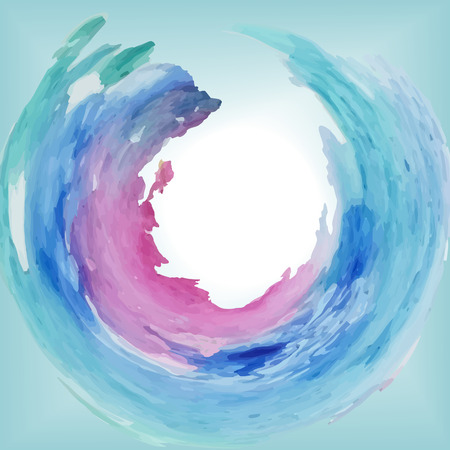 Round frame of watercolor spots in vector blue, violet, pink stains, sea wave, with free center for inscription. 向量圖像