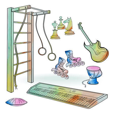Vector sketch - hobby of boys, sport, music, chess, instruments synthesizer, electric guitar, hand painting doodle and watercolor stains in white backgrond isolated