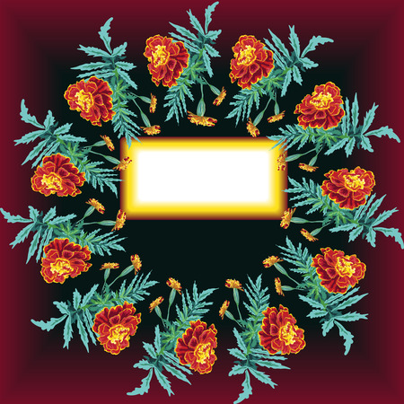 round frame from a bouquet of calendula, marigold, orange with leaves and buds, on a dark black and red background with a place for an inscription invitation, isolated, brush Illustration