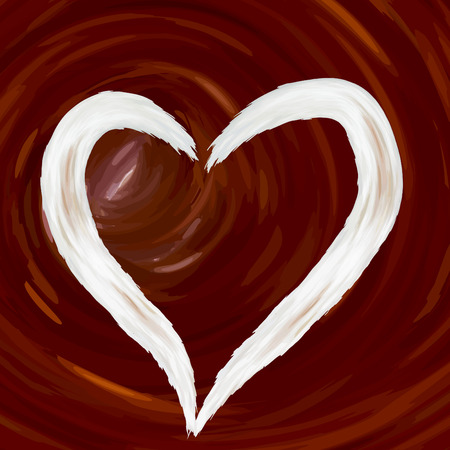 Heart love from cream, against a background of abstractly drawn coffee drink, cappuccino, cocoa in vector, color of brown chocolate Illustration