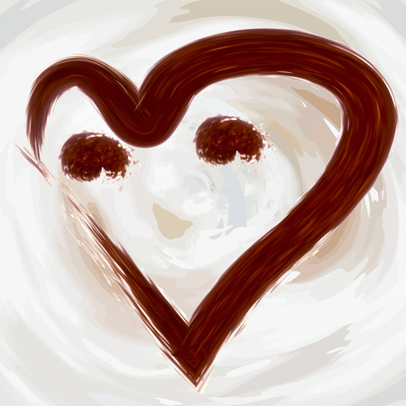 Heart of a smile from coffee, cocoa on a background of abstractly drawn in a vector waves of latte, milk and whipped cream Illustration
