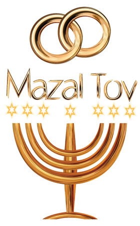 Card for the wedding ceremony of the orthodox Judaist with gold rinds, congratulation Mazal Tov, Menorah Ilustração