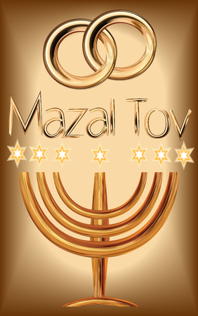 Card for the wedding ceremony of the orthodox Judaist with gold rinds, congratulation Mazal Tov, Menorah Illustration