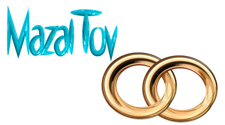 Card for the wedding ceremony of the orthodox Judaist with gold rings isolated on plain background.
