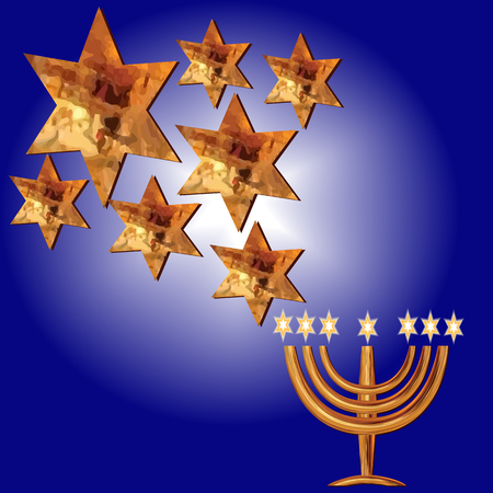 Card for the wedding ceremony of the orthodox Judaist with gold isolated on  blue background. Ilustração