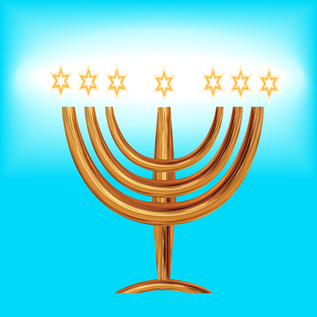 Card for the wedding ceremony of the orthodox Judaist with gold isolated on  light blue background. Ilustração