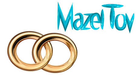 Card for the wedding ceremony of the orthodox Judaist with gold rings, congratulation Mazel Tov color blue