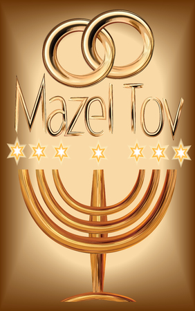 A greeting card and an invitation to a traditional Jewish wedding, in a richly decorated gold, Stars of David, The Golden Menorah, engagement rings, Inscription Mazal Tov Vector drawing on  background isolated Illustration