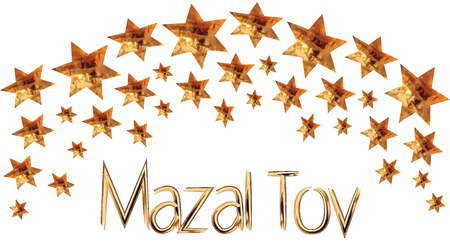 A greeting card and an invitation to a traditional Jewish wedding, in a richly decorated gold, Hupa from the Stars of David, Inscription Mazal Tov Vector drawing on white background isolated