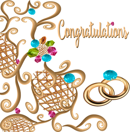 A Vector drawing on white background isolated, gold ornament grille forged jeweled blue sapphires, pink ruby, green, with inscription Congratulations and a pair of wedding rings for the wedding