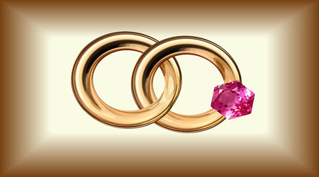 A vector illustration in the form of two wedding rings with one ruby gold, isolated, on a gold background