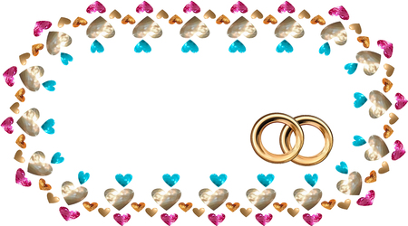 A frame in the vector of hearts in the form of precious stones and gold, rubies and sapphires, and gold wedding rings, an invitation to a wedding, a confession Vector drawing on white background isolated