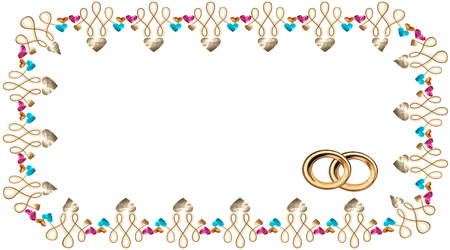 Frame in the vector of hearts in the form of precious stones and gold, rubies and sapphires, and gold wedding rings, an invitation to a wedding, a confession Vector drawing on white background isolated