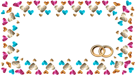 Frame in the vector of hearts in the form of precious stones and gold, rubies and sapphires, an invitation to a wedding, a confession Vector drawing on white background isolated