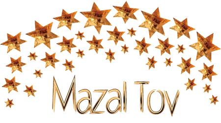 Een wenskaart en een uitnodiging voor een traditionele Joodse bruiloft, in een rijkelijk versierd goud, Hupa van de Davidssterren, Inscriptie Mazal Tov Vector tekening op een witte achtergrond geïsoleerd