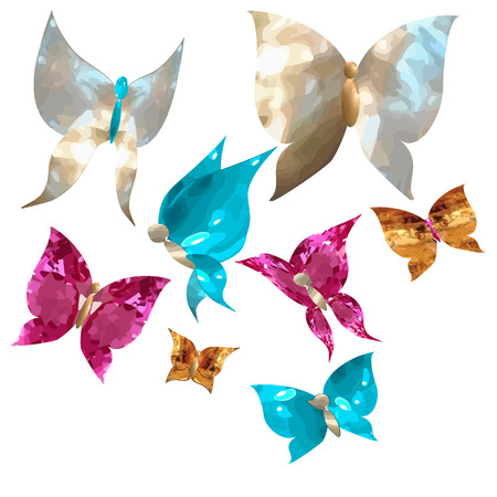 Butterflies and cute hearts in the form of gems, mother of pearl, rubies, sapphires and gold on a white background isolated vector