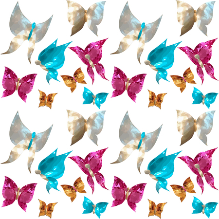 Seamless pattern with jewelry butterflies in the form of gems, mother of pearl, rubies, sapphires and gold on a white background isolated vector Vettoriali