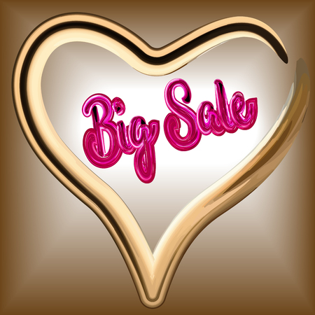The inscription Best Sale is luxurious from jeweled stones from scarlet ruby precious on a dull gold background, in the heart of brilliant gold, a luxury card for a store, in vector Illustration