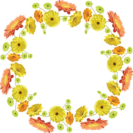 Card with delicate frame and flowers brightly drawn gerberas and chamomiles isolated in vector yellow, orange and green, congratulations