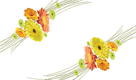 Card with a gentle wreath in a circle of flowers brightly drawn gerberas and chamomiles isolated in a vector yellow, orange and green, diagonal Illustration