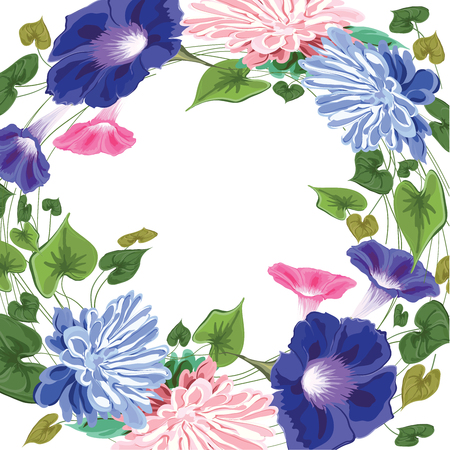 wreath frame made of flowers, leaves and curly stems -astra, vine, ivy, green, pink, blue on white background in vector, isolated