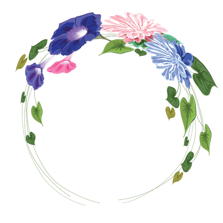 wreath frame made of flowers, leaves and curly stems -astra, vine, ivy, green, pink, blue on white background in vector, isolated  Ilustrace