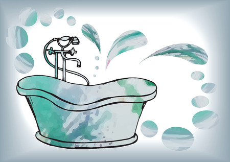 postcard painted antique bath with floor mixer, in vector with watercolor stains, carelessly drawn vintage