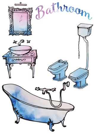 Furniture, plumbing, toilet, bidet, mirror and washbasin, luxury linens for the bathroom - a sketch in black