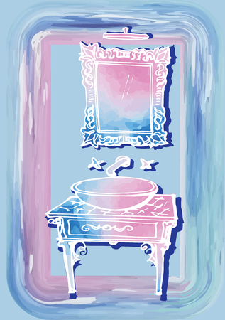 Sketch of bathroom furniture in watercolor spots and white lines, carelessly drawn, wash basin, sink and mirror classic antique